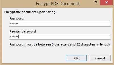 Thiết lập mật khẩu cho tập tin PDF trong Office 2013 6