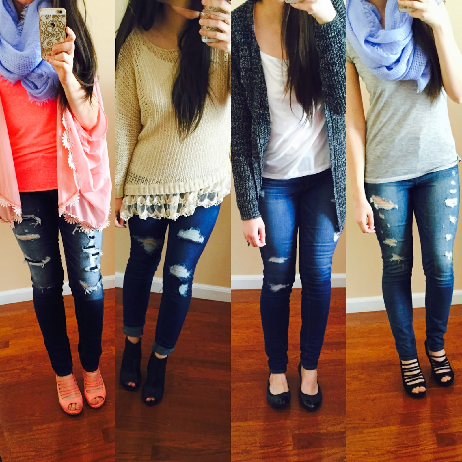 casual destroyed jeans outfit,