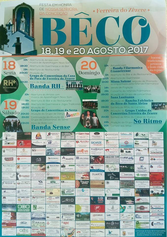 Festa no Bêco em Honra de Nossa Senhora da Conceição 18,19,20 de agosto de 2017