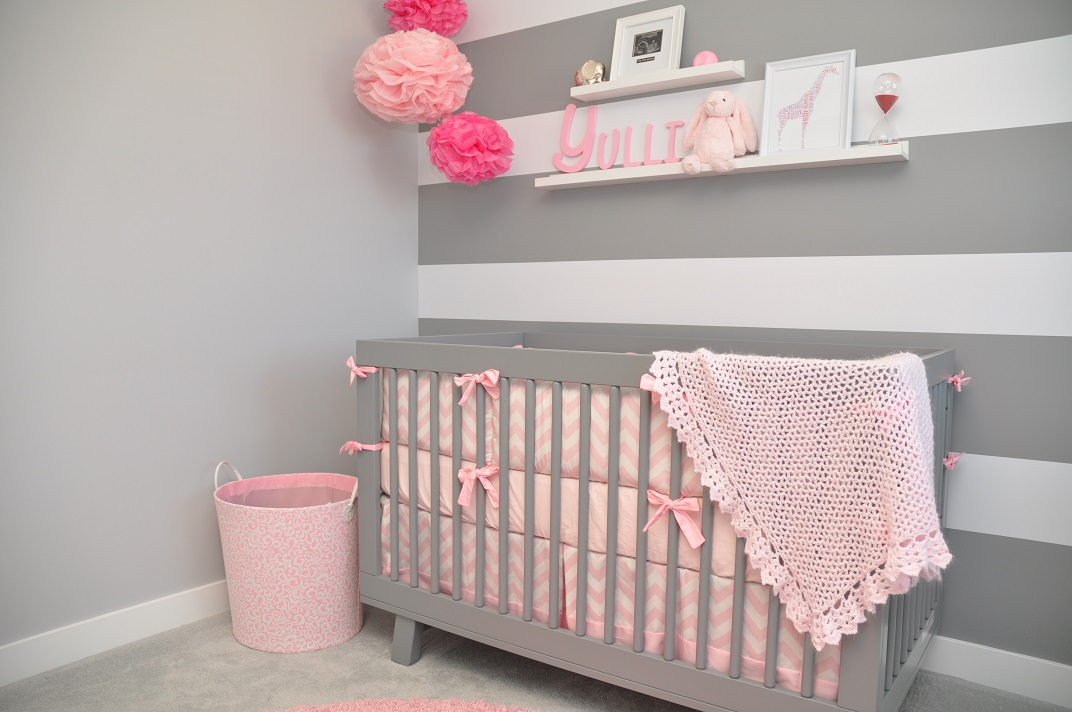 pink and grey baby nursery ideas mippoos. Black Bedroom Furniture Sets. Home Design Ideas