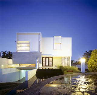 front view of a dynamic modern home design