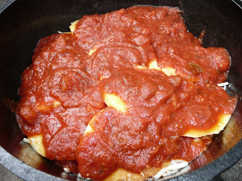 Everyday Dutch Oven: Polenta Pie With Cheese and Tomato Sauce