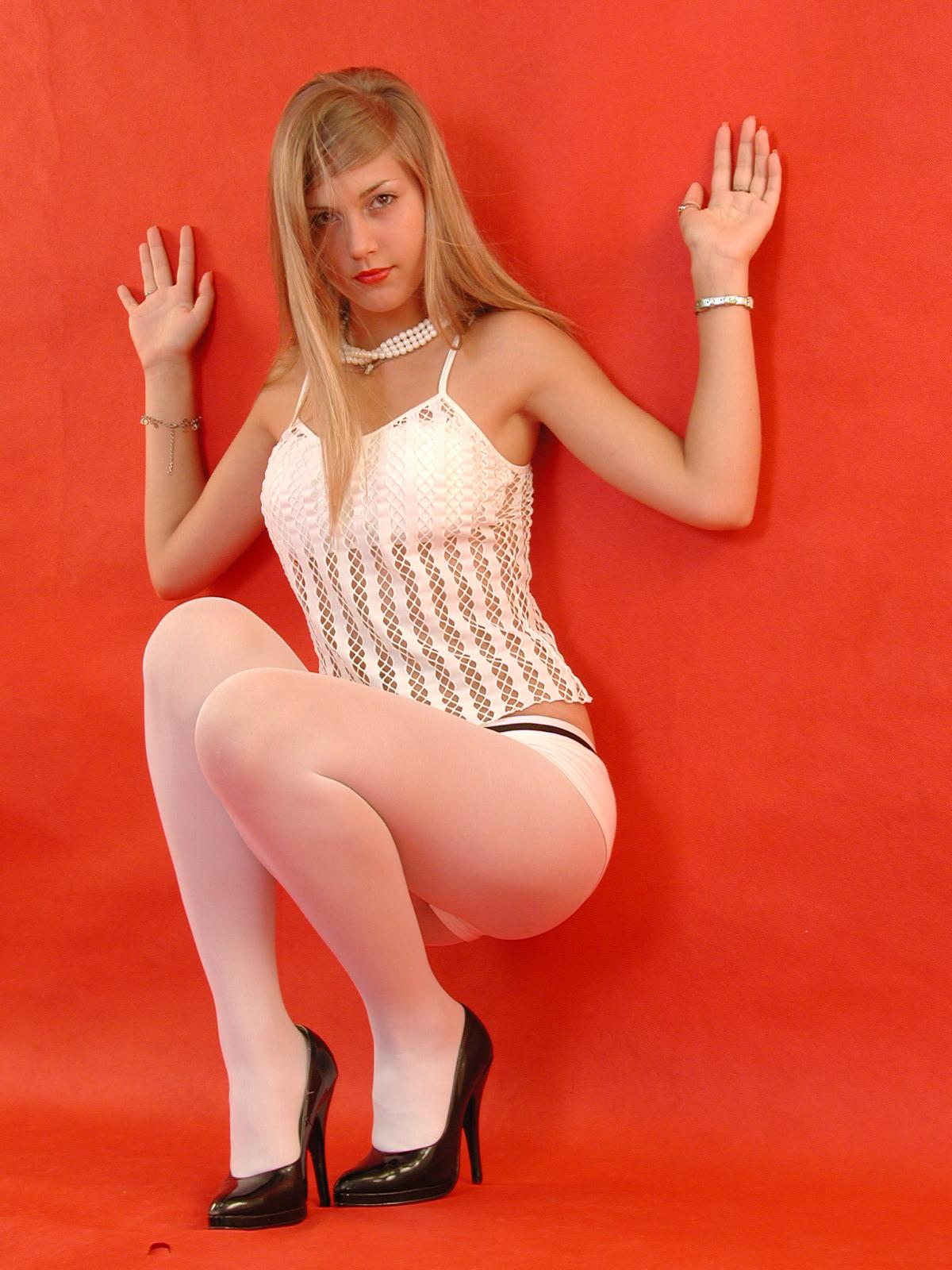 She Vlad models pantyhose you
