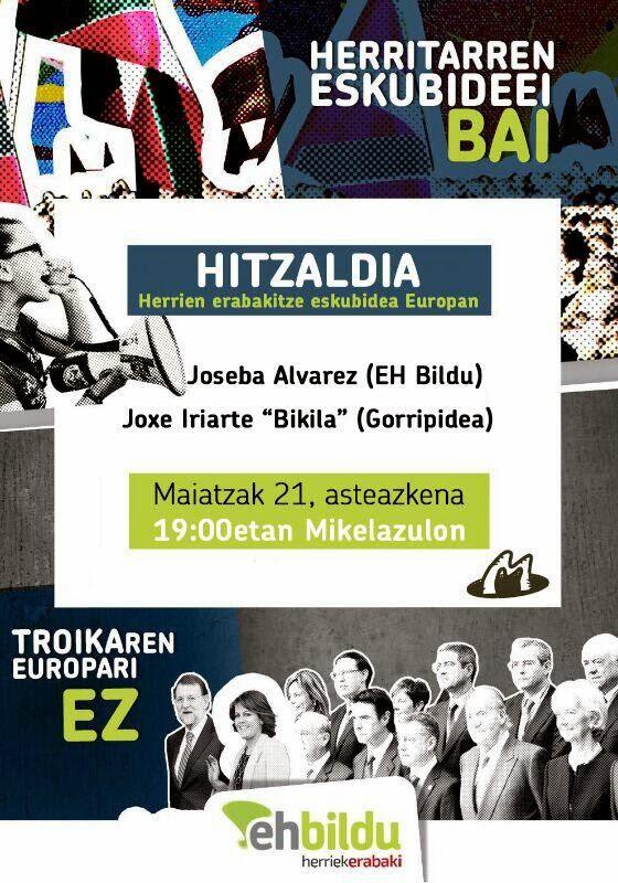 Mikelazulon, 21asteazkenean, 19,00retan hitzaldia: herrien erabakitze eskubidea Europan!