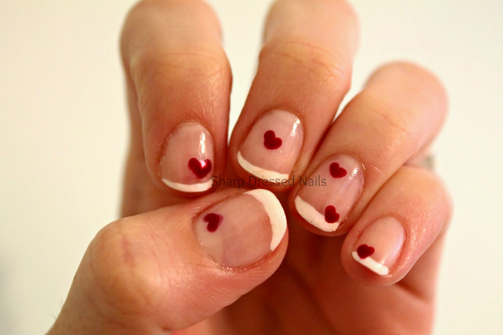 Sharp Dressed Nails: French Manicure with Hearts-- Valentine Nails 2015