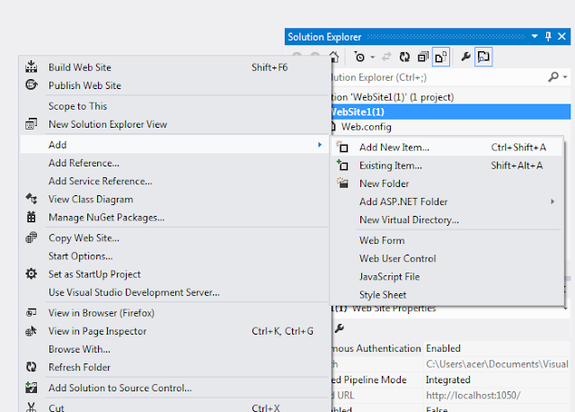 Add New Item visual studio 2012