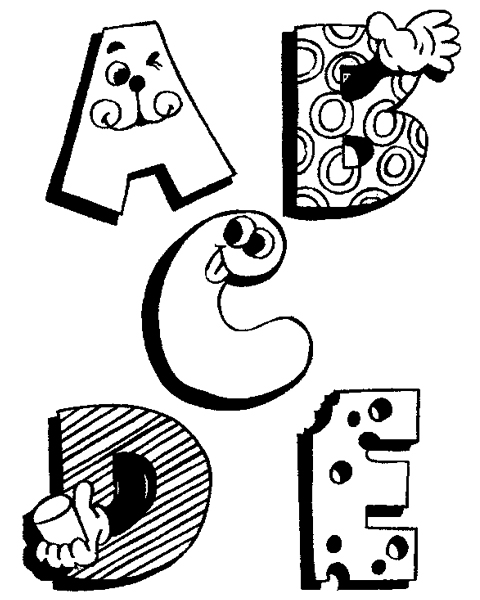 Funny Alphabet Coloring Pages