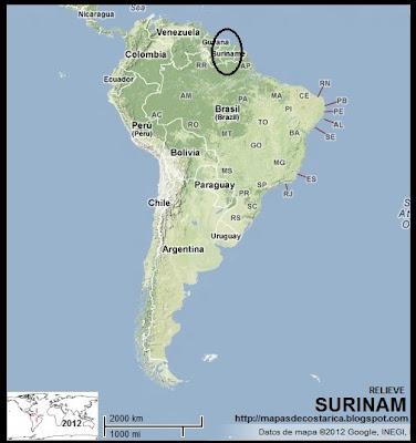 Ubicación de SURINAM en Sudamérica (bing)