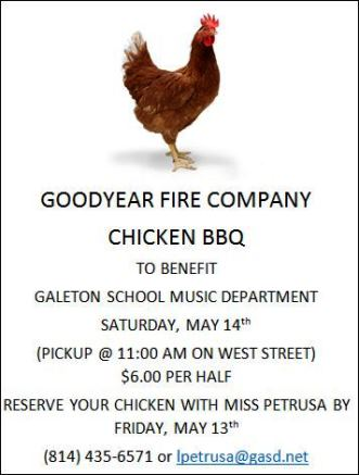 5-14 Chicken BBQ Benefits Galeton School