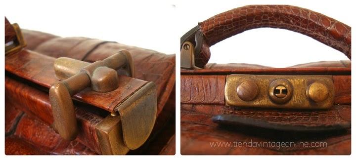 Bolsos de cocodrilo, piel de caimán, maletines de doctor antiguos