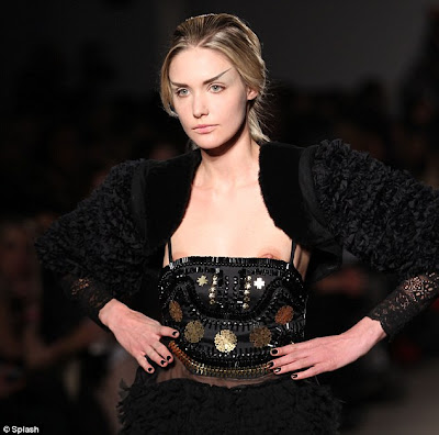 Wardrobe Malfunction: Model's dress slips to reveal nipples on New
