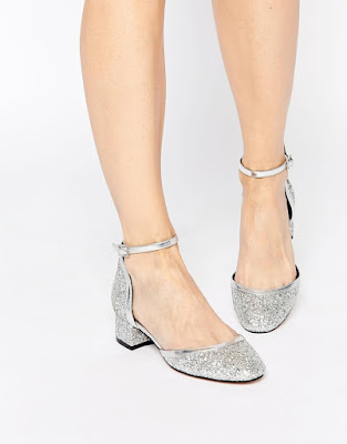 Asos silver low heeled ankle strap shoes