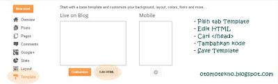 Edit template untuk mengganti icon blog di blogspot.