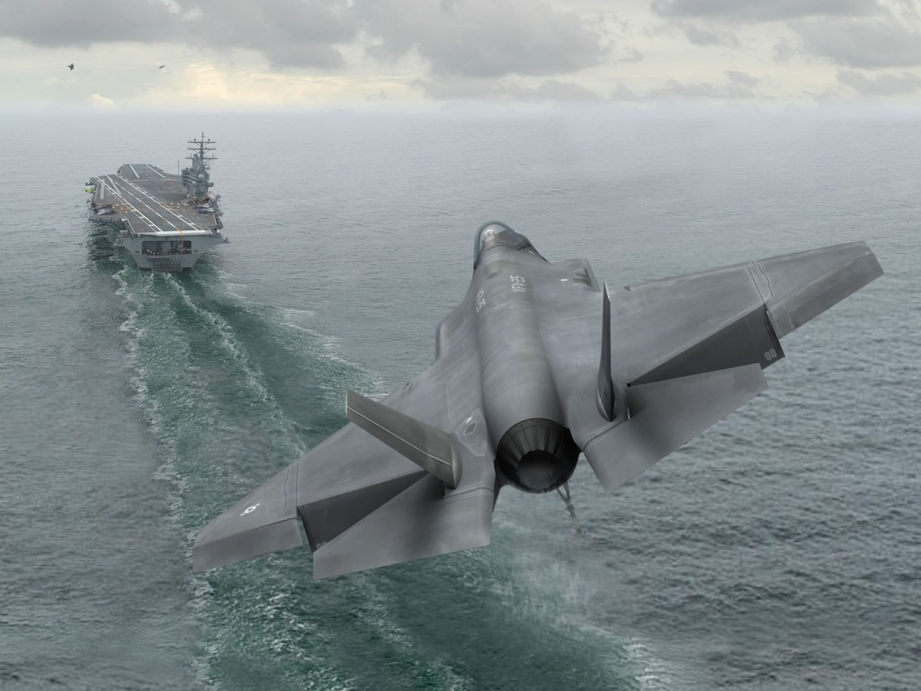 Fighter Aircraft F-35C Approaching towards the Ship || Top Wallpapers Download .blogspot.com