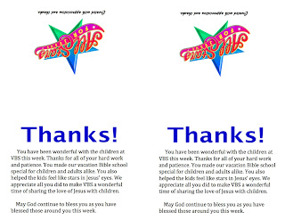 VBS Tips VBS Appreciation Idea ThankYou Note