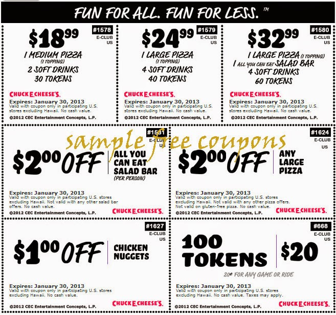 Chuck e cheese coupons july 2019