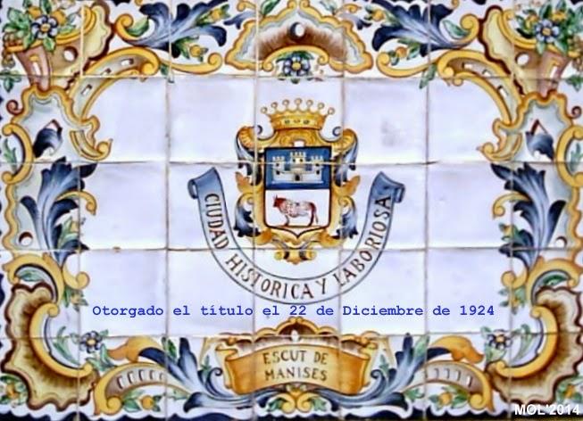 """SE CUMPLEN 90 AÑOS DE LA CONCESIÓN DEL TÍTULO DE """"CIUDAD"""" A LA VILLA DE MANISES, 1924 - 2014"""