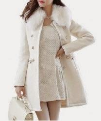 ladies white wool designer coat
