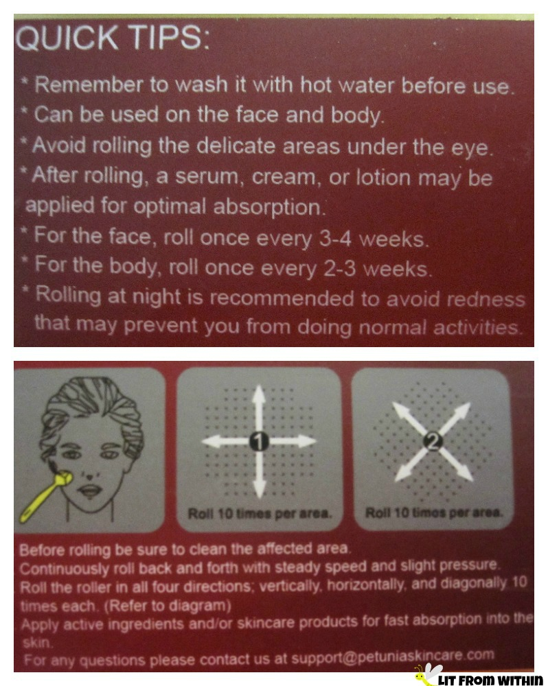 Petunia Skincare Derma Roller instructions