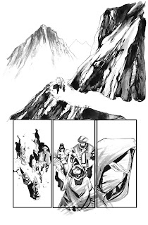 This is the first page of issue #3 of Drones penciled and inked by Bruno Oliveira