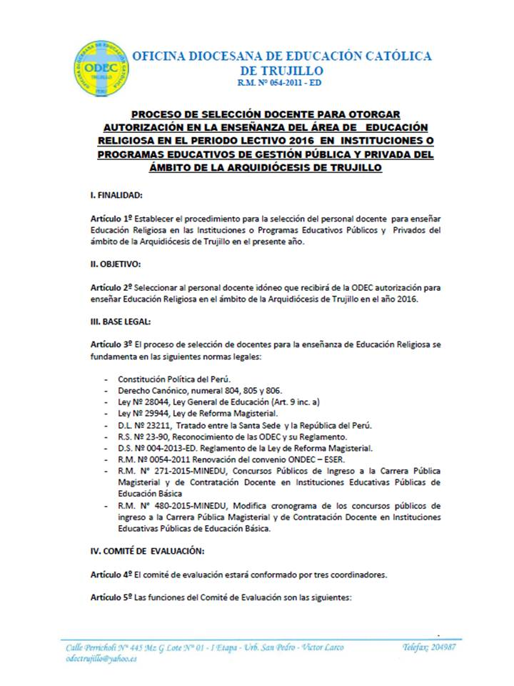 Odec trujillo se inicia inscripci n para proceso de for Docentes en el exterior 2016