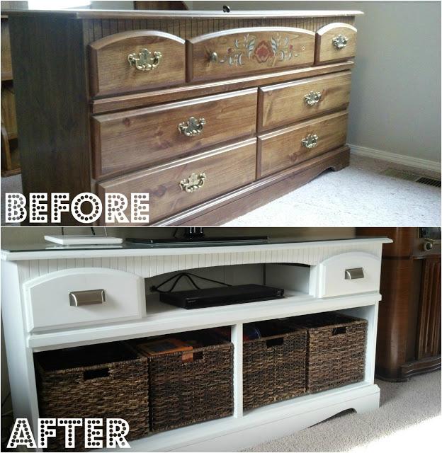 Dresser turned TV stand makeover