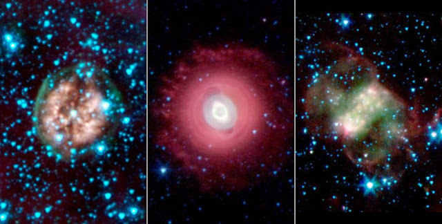 This trio of ghostly images from NASA's Spitzer Space Telescope shows the disembodied remains of dying stars called planetary nebulas. Image Credit: NASA/JPL-Caltech/Harvard-Smithsonian CfA