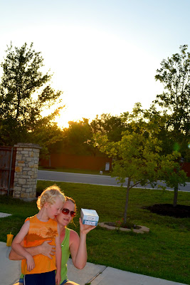 Kate Geesaman and son observing the solar eclipse - May 20, 2012