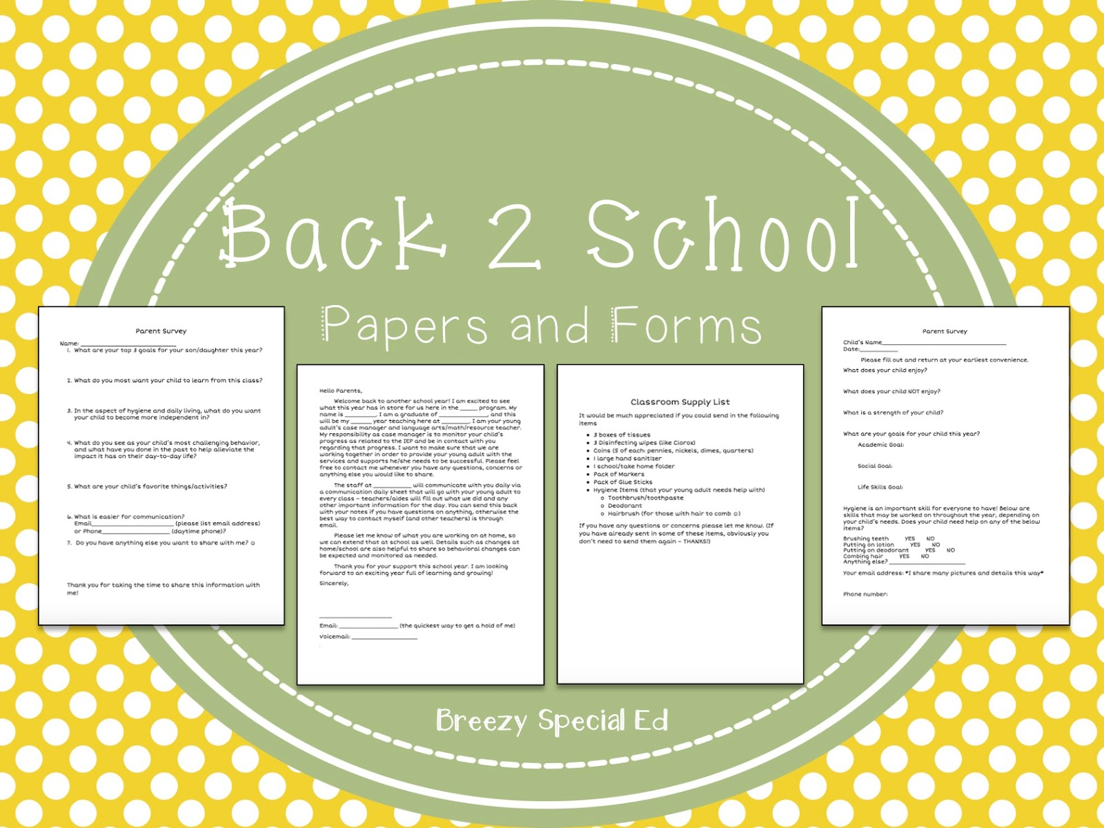 Why Parents Need To Teach Middle >> Back To School Forms To Send Home Breezy Special Ed
