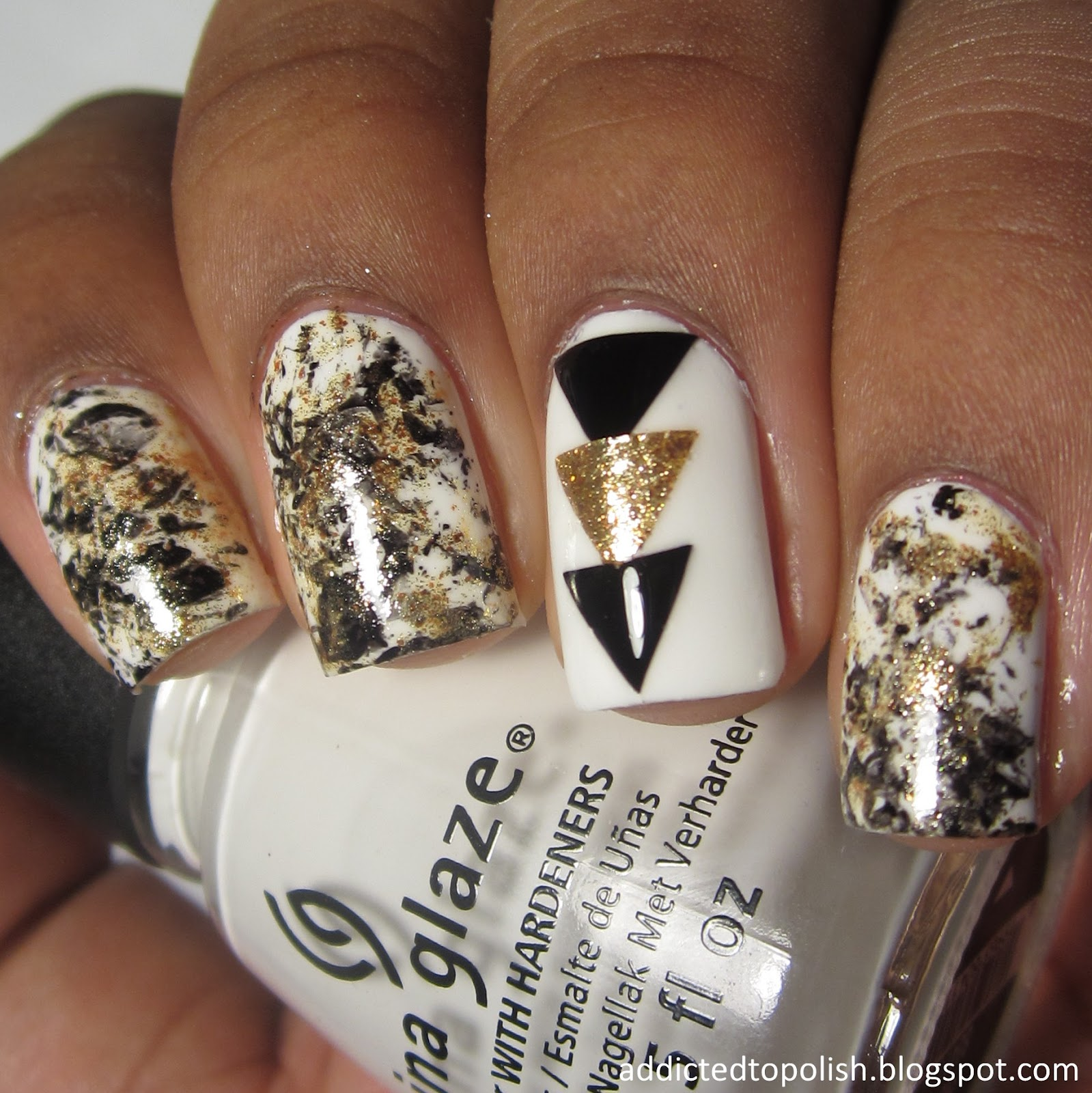 black gold white triangle saran wrap nail art