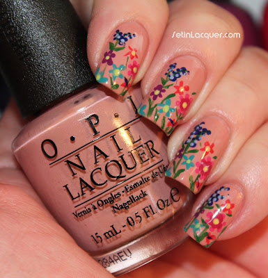 Floral Nail Art using OPI polishes