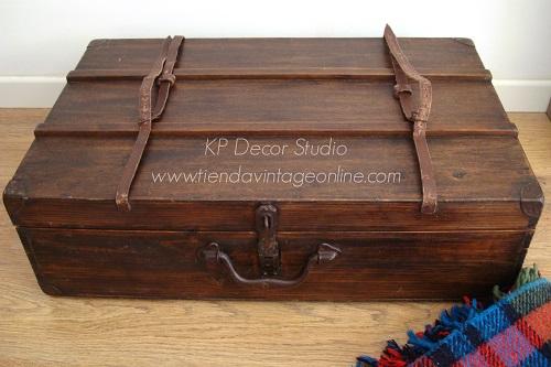 Maletas antigua de madera de viaje para decorar y almacenaje