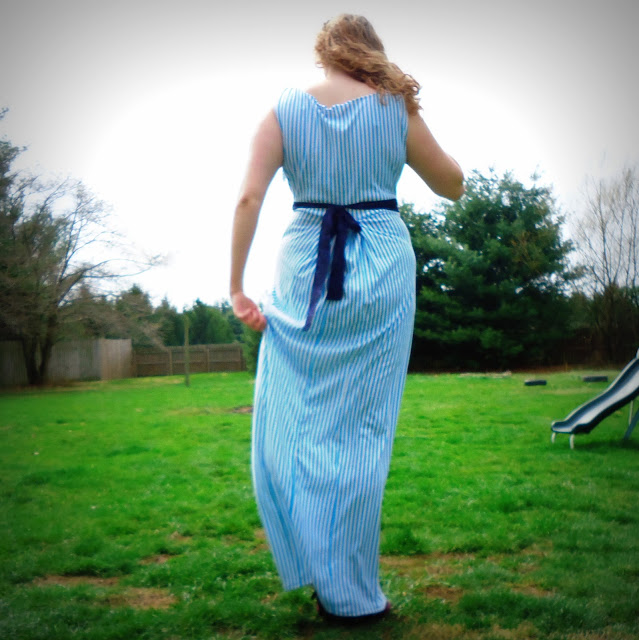 handmade blue and white stripe maxi dress