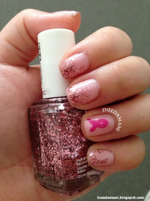 Essie a cut above pink ribbon glitter nails