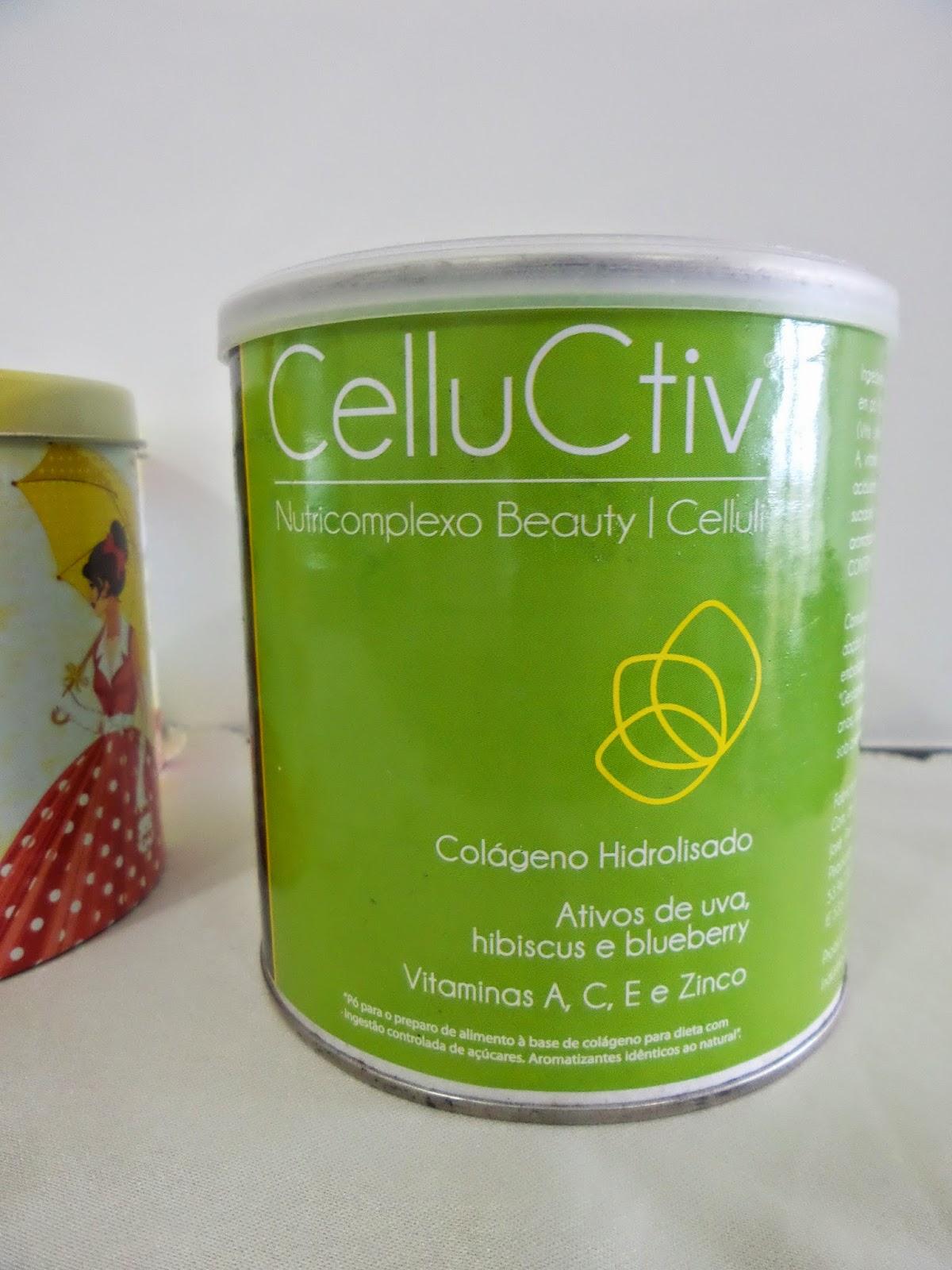 Cellucitv com colágeno hidrolisado, vitamina c, E betacaroteno, zinco, uva, mirtilo e hibisco.
