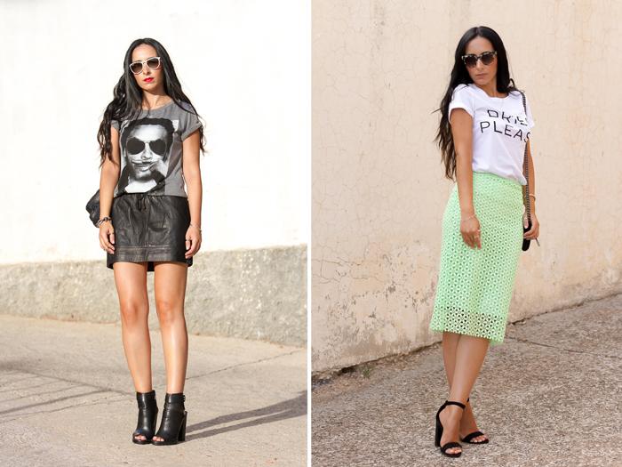 Look camiseta Lenny Kravitz y falda mini de cuero sport y look con falda de guipur