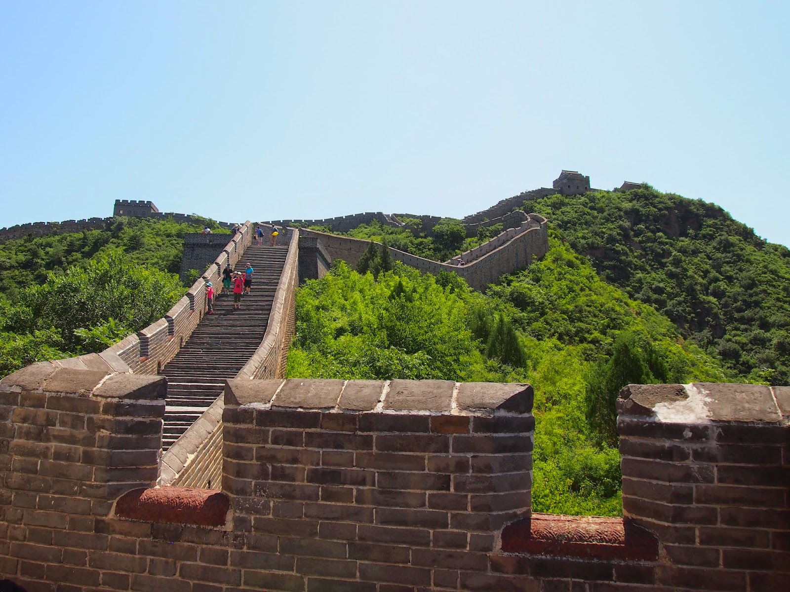 The Great Wall of China with clear skies