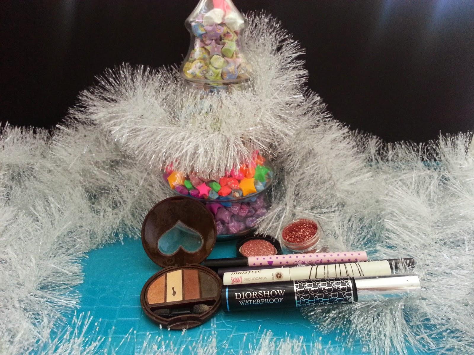 Dolly wink eye shadow and liquid liner, Diorshow, Innisfree Microcara, pigment, Peripera gel liner