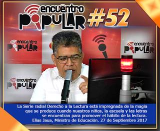 Promos radiales: Ministro Jaua reconoce y felicita la serie Derecho a la Lectura
