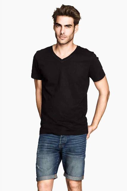 h&m t-shirt noir col v coton bio