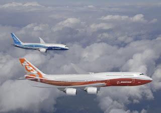 Boeing 747 8 Boeing 787 Intercontinental Flight Clouds HD Wallpaper