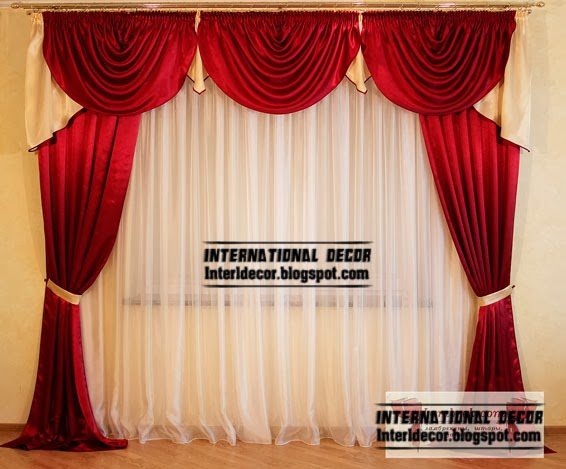 Red Curtains drapes, Window treatments in the interiors