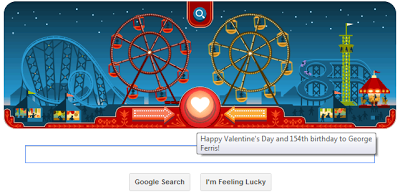 Google Doodle - Valentine's day 2013 & George Ferris B'day