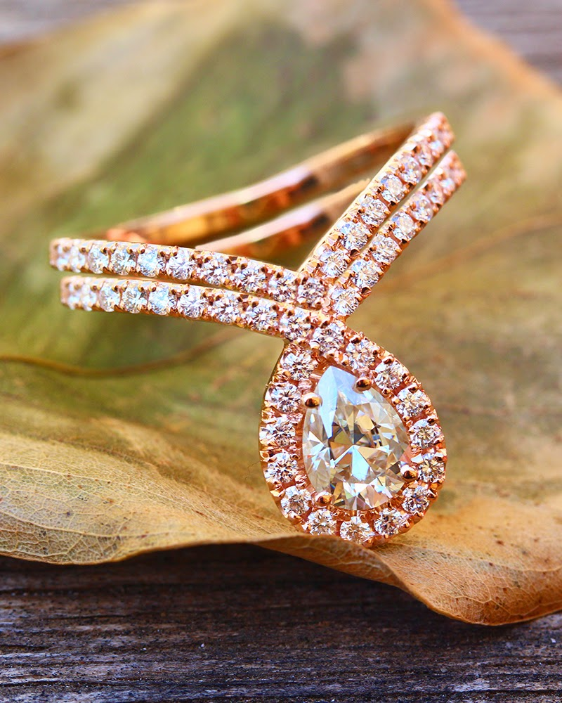 bliss ring pear shaped diamond chevron wedding band Here we made the Bliss Ring is Rose Gold 1 Carat Pear Shaped Moissanite engagement ring with matching wedding diamond band
