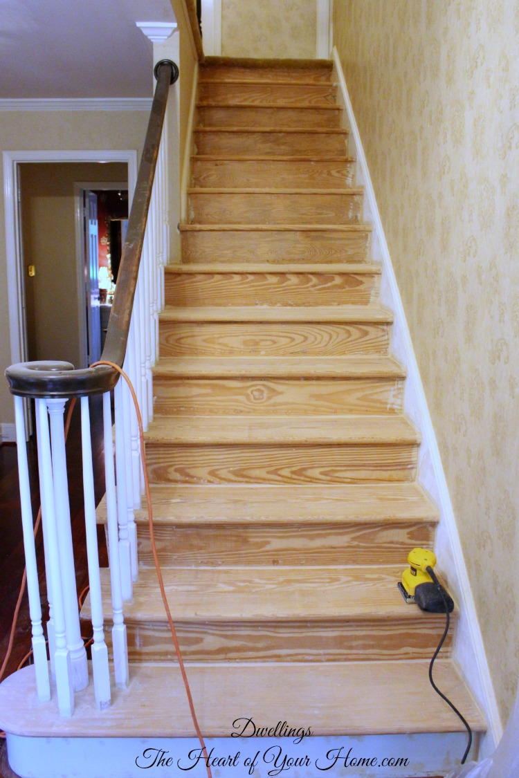 The Exposed Sides Of The Stair Treads Are A Rough Cut So I Went Over The  Flat Edge A Number Of Times With The Electric Sander And A Coarse Sandpaper.
