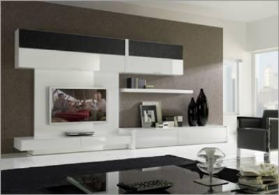 Tienda muebles modernos muebles de salon modernos salones - Muebles lacados en blanco brillo ...