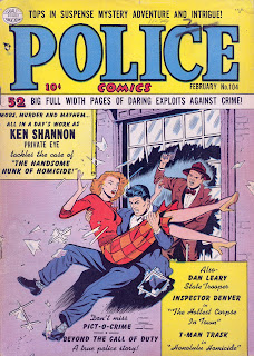 Police 104 cover--Ken Shannon jumping through window glass with woman in hs arms, man with gun behind them