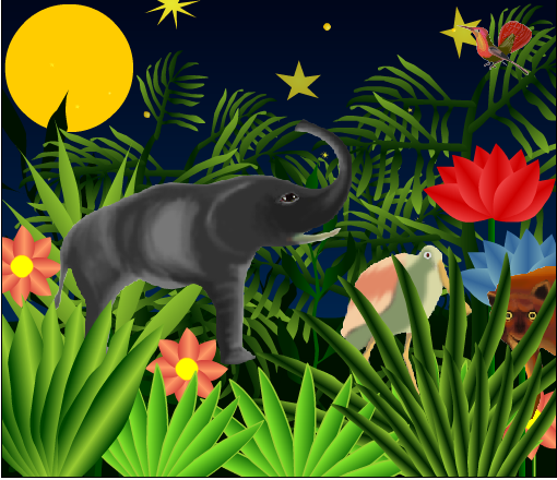 jungle night scene with elephant&  plants