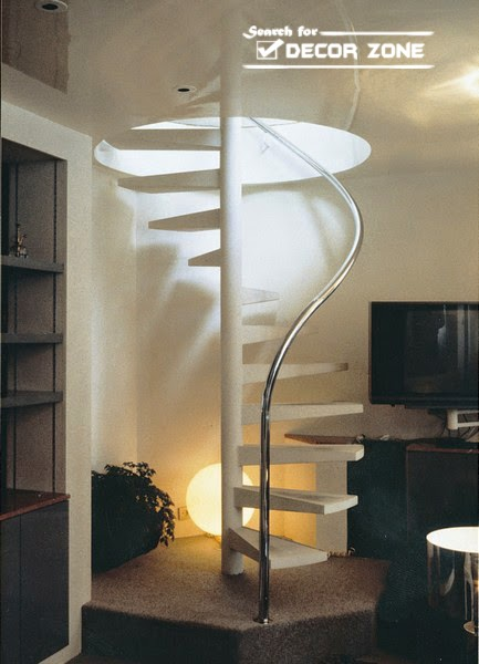 Exceptionnel White Spiral Stairs Design With Creative Lighting System
