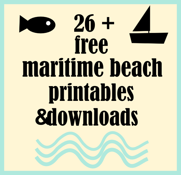 photo relating to Free Printable Beach Stencils identified as ☞ Earlier mentioned 26 no cost marine seaside printables and nautical